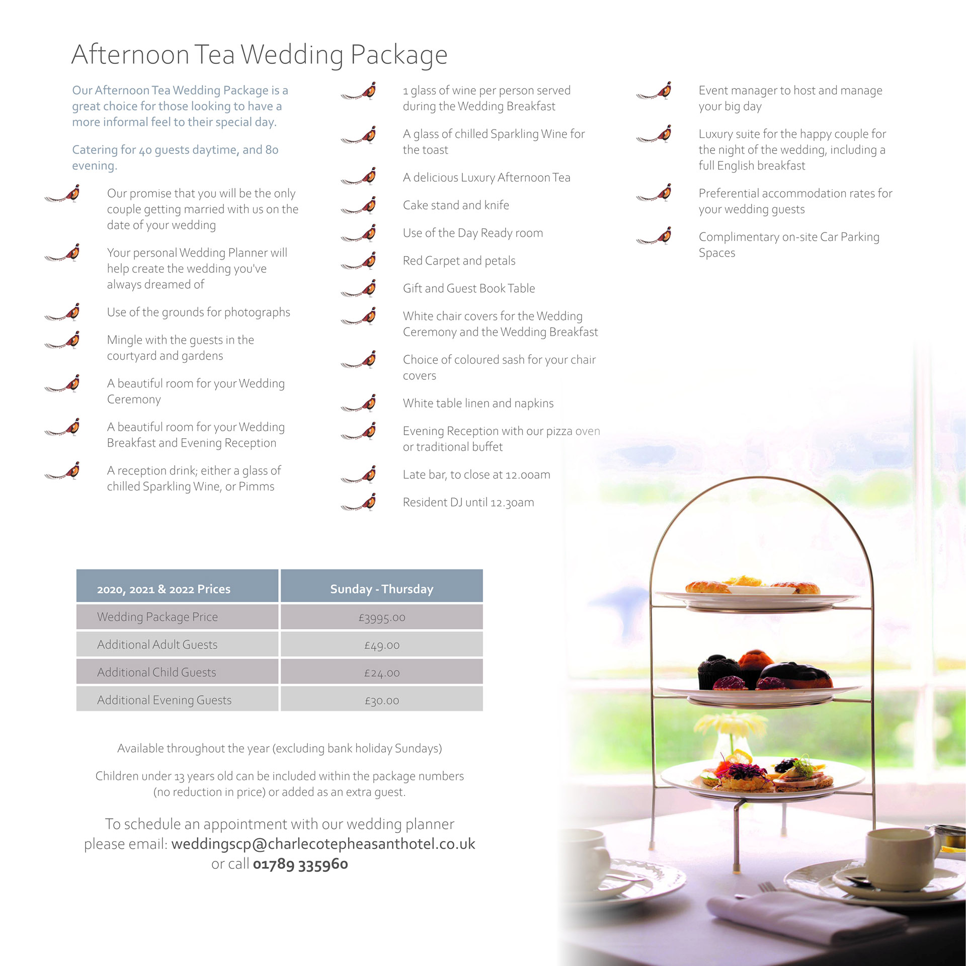 Afternoon tea wedding package at the Charlecote Pheasant Hotel