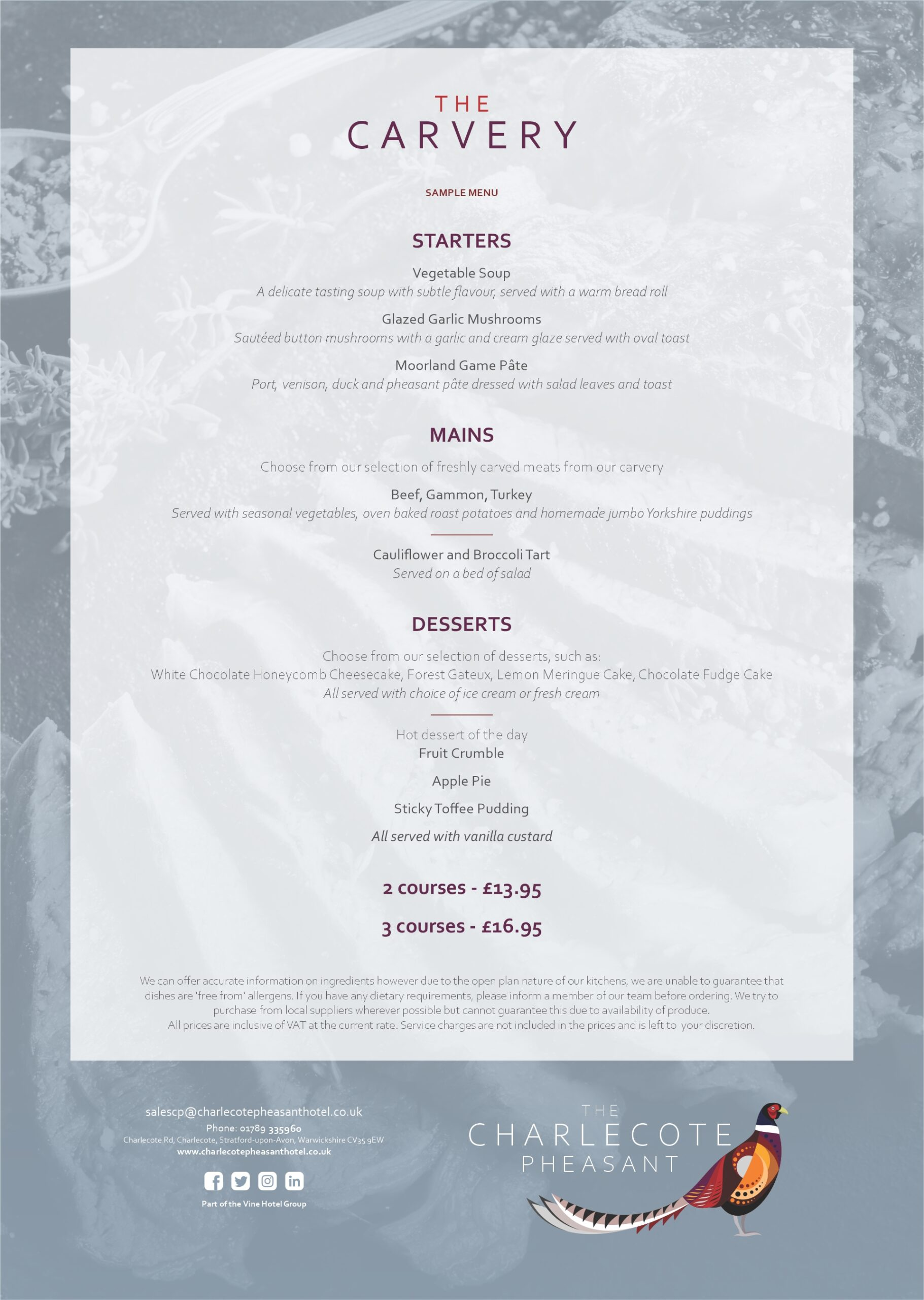 The Charlecote Pheasant Hotel Weekend Carvery Menu