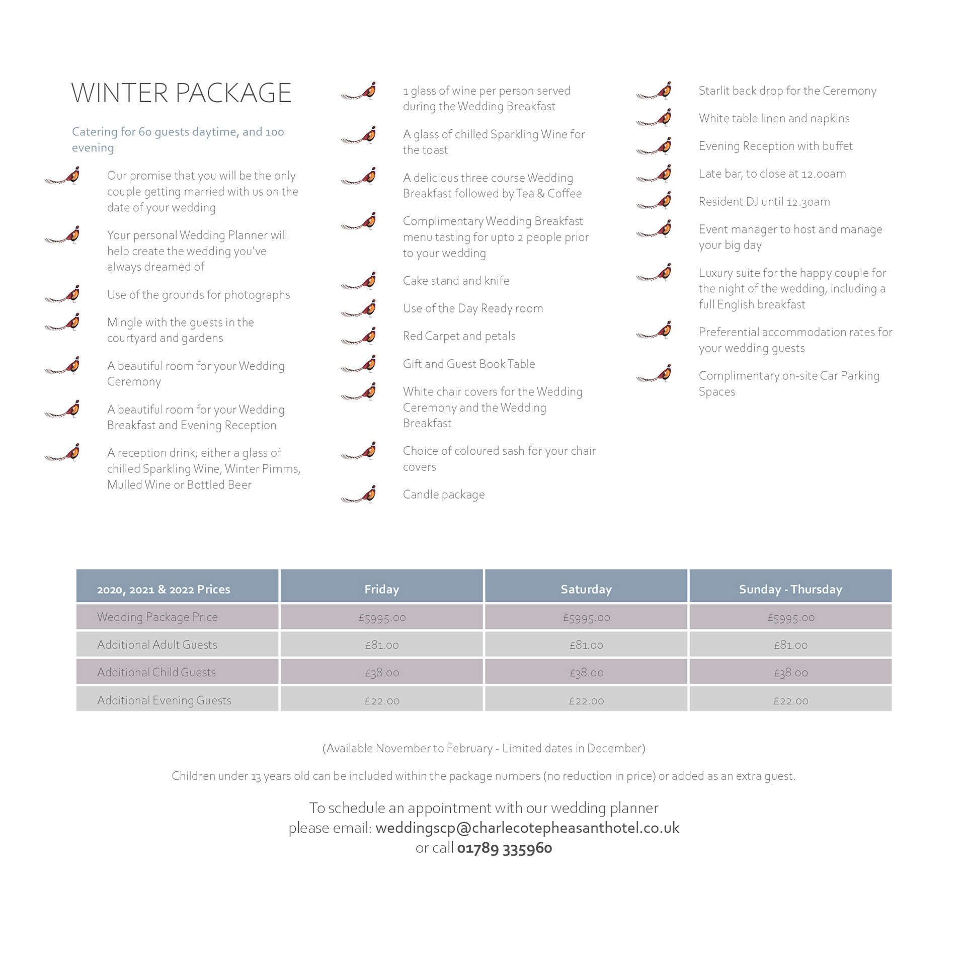 Winter package 1 at the Charlecote Pheasant Hotel