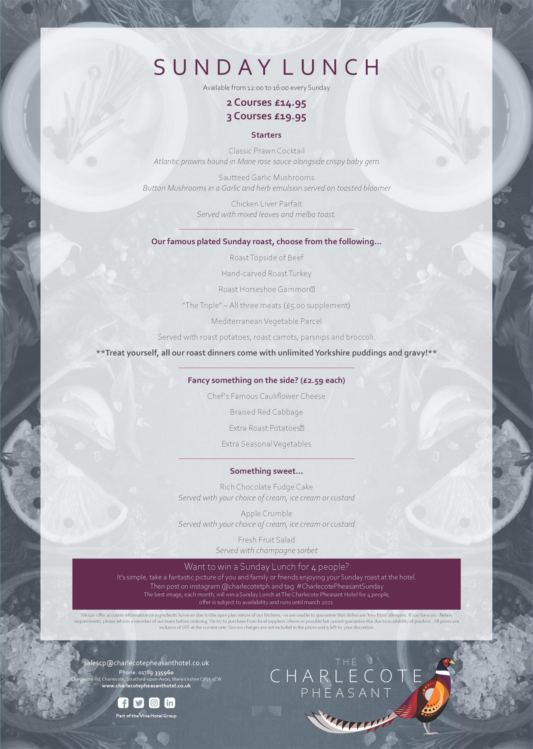The Charlecote Pheasant Hotel Sunday Lunch Menu
