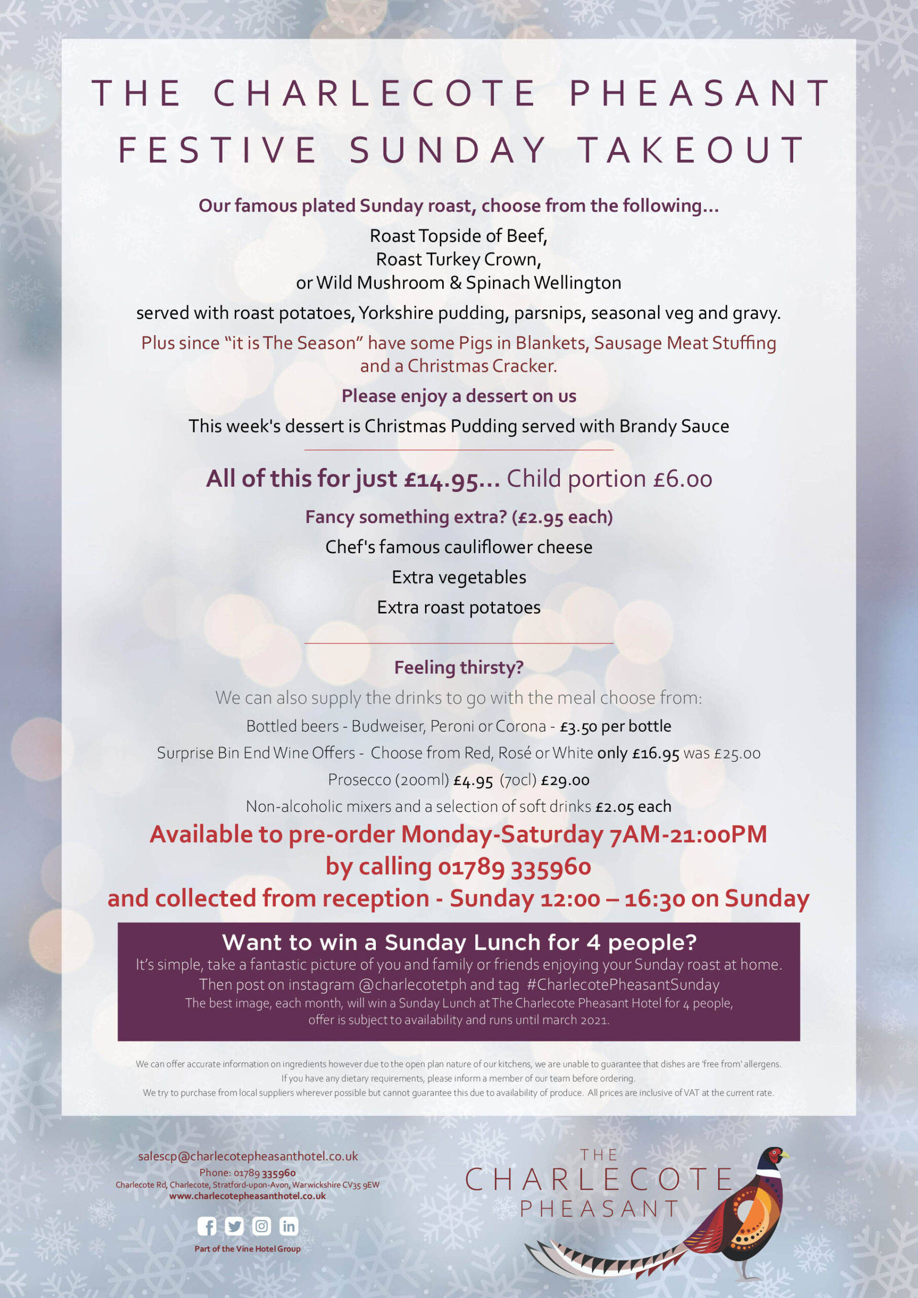 The Charlecote Pheasant Hotel Festive Sunday Takeout Menu 4