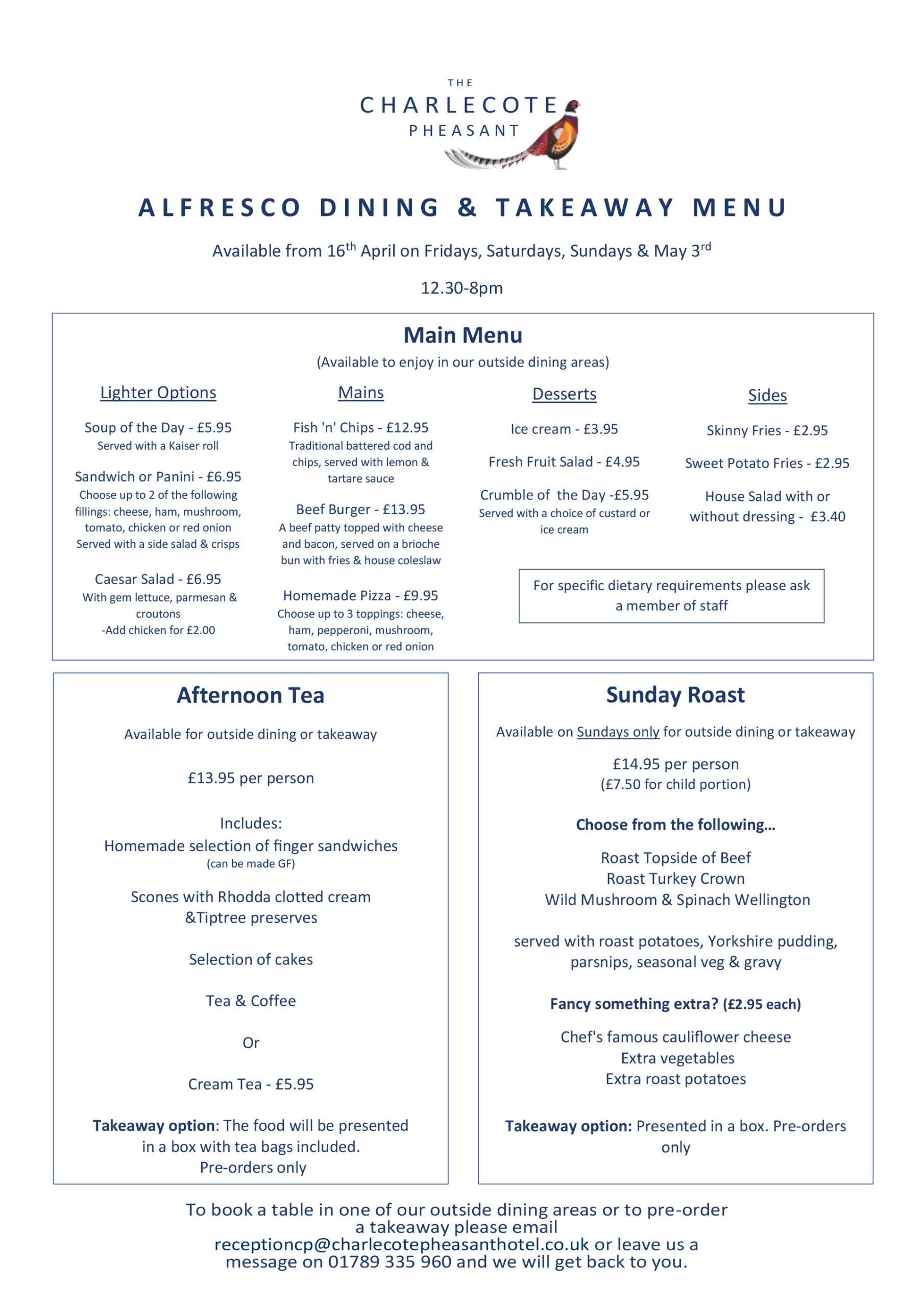 Alfresco Dining & Takeaway Menu Charlecote Pheasant Hotel Stratford upon Avon