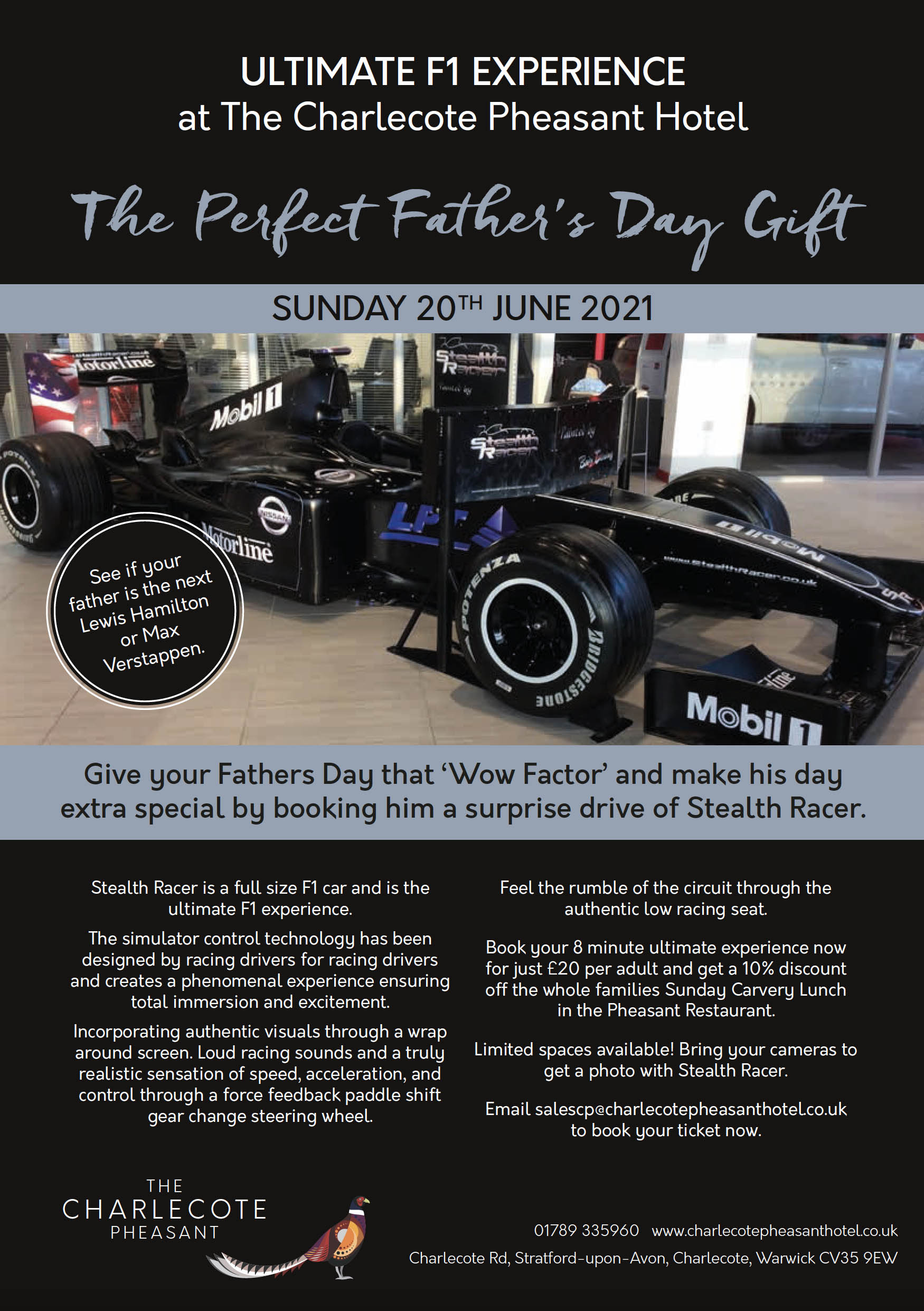 Charlecote Pheasant Hotel - F1 Experience Fathers Day 2021