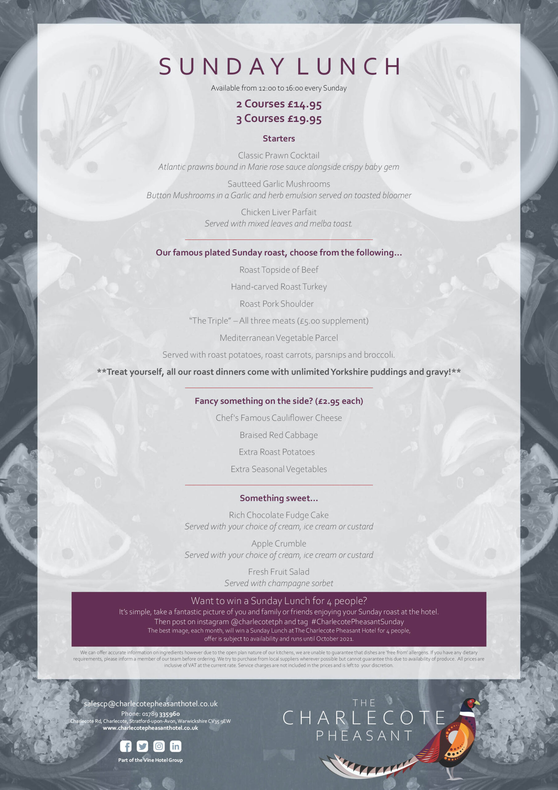 The Charlecote Pheasant Hotel Sunday Lunch Menu.cdr